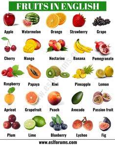Fruits and vegetables! In this lesson, you will learn a list of useful vegetables and fruits names in English with ESL picture to broaden your vocabulary. Vegetables Names With Pictures, Fruits And Vegetables Names, Vegetable Pictures, List Of Vegetables, All Fruits, Pictures Of Fruits, List Of Fruits, Fruits Pics, Food Names In English