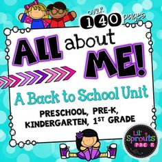 $8  This is a complete All About Me Unit for back to school!  There are so many printables and activities to choose from in this All About Me Unit!  This unit is designed for Preschool, Pre-K, Kindergarten and First Grade.  Its great for back to school activities!
