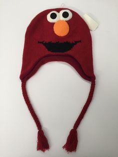 76374b687db Elmo Knit Laplander Hat Ski Cap Beanie One Size Adults Teens Sesame Street