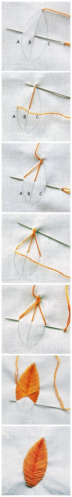 Embroidery leaf technique