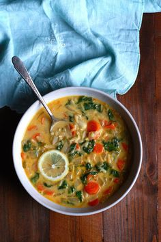 Creamy Lemon Chicken Orzo Soup -- Supper with Michelle