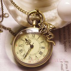 Vintage Compass Style Pocket Watch Round Necklace Chain Pendant