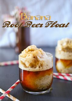 Banana Root Beer Float made with pureed frozen bananas instead of ice cream! Low calorie and sounds delicious!