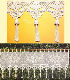 unusual filet crochet | Amazon.com: Unique hand crochet lace White Cafe Curtain/Valance