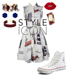 """""""RED...WHITE...BLUE"""" by sparklyone on Polyvore featuring Converse, Chloe + Isabel, Nine West, Wolf & Moon and Lime Crime"""