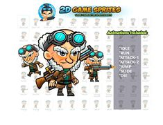 Sniper Game Sprites by DionArtworks on 2d Character Animation, Shooting Games, Game Assets, Sprites, Character Illustration, Game Character, Chibi Characters, Princesses, Shooter Games