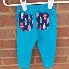 Feather Tiki Diamond Baby Toddler pocketed blue leggings pants, trendy baby leggings, hipster baby leggings, baby fashion baby toddler style by LittleIvieRose on Etsy
