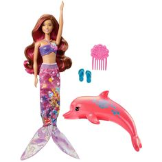Bring Barbie Dolphin Magic to life with a gorgeous transforming mermaid Barbie doll! Ready to dive into an ocean of fun, this Barbie doll can transform into a mermaid with a two-in-one outfit. Mattel Barbie, Barbie And Ken, Mermaid Barbie, Lego, Doll Clothes Barbie, Doll Toys, Girl Gifts, Equestria Girls, Dolphins