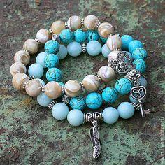 """Комплект браслетов """"Берега"""" - браслет с подвесками, браслеты из камней, набор браслетов, модные браслеты"""