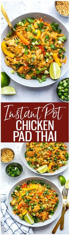 This Instant Pot Chicken Pad Thai is a super quick and easy one pot pad thai recipe that is perfect for your weekly meal prep – the noodles cook in the pot along with the other ingredients for minimal clean up too!