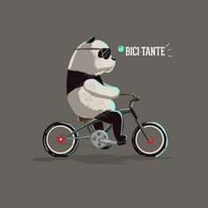 The bicycle is like Pandas, everybody love it! la bicicleta es como los pandas todo el mundo los ama. Made by Daniel Feru ilustrador illustrator, Popayán colombia, para revista El Bicitante. #Bicycle #Cruiser #bike, #illustration #bicicleta #Panda