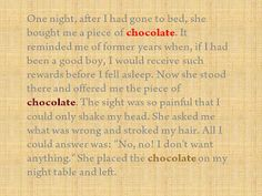 Chocolate in Literature - click foto and answer the question and win a Theo and Philo choco bar!