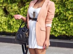 outfits, summer dresses, fashion, style, jackets, the dress, peach, pink, blazers
