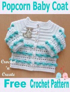 Popcorn Baby Coat Free Crochet Pattern - Crochet popcorn baby coat to match popcorn bonnet, free crochet pattern. Crochet Baby Cardigan Free Pattern, Crochet Baby Blanket Beginner, Crochet Baby Sweaters, Baby Sweater Patterns, Baby Girl Sweaters, Crochet Baby Clothes, Newborn Crochet, Crochet Jacket, Baby Patterns