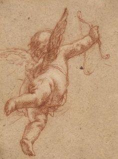Ecole française du XVIIe siècle Entourage de Laurent de La Hyre; Etude d'angelot; Sanguine et rehauts de craie blanche