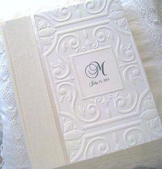 White Monogram Wedding Photo Album by Daisyblu on Etsy