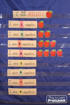 I See Apples Pocket Chart This Activity Teaches So Many Things Number Recognition, Counting, Sight Words, Concept Of Word. Play To Learn Preschool Preschool Apple Theme, Fall Preschool, Preschool Lessons, Preschool Math, In Kindergarten, Preschool Apples, Circle Time Ideas For Preschool, Number Sense Kindergarten, Autumn Activities
