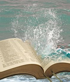 Photo about Photo of crashing wave on open bible pages depicting refreshing waters of bible truth! Image of testament, christ, spray - 49603455 Images Du Christ, Images Bible, Bible Photos, Prayer Images, Pictures Of Christ, Bible Pictures, Holy Bible Book, Open Bible, Christian Backgrounds