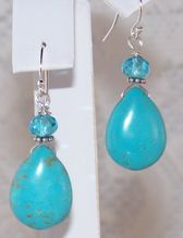 """Sterling Silver Turquoise Briolette Earrings 1 1/2""""  - Handmade Jewelry Gift for Her"""