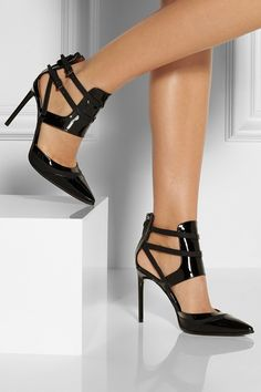 REED KRAKOFF Cutout leather and patent-leather pumps