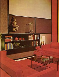 70s living room with Mondrian walls, Practical Encylopedia of Good Decorating and Home Improvement, 1970