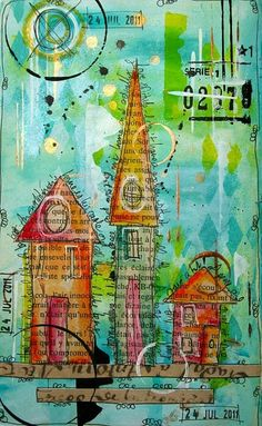 Houses on Book Pages. Houses drawn with ink on book pages, color washed, then cut and collaged onto a layered background.
