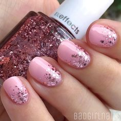 """Pink on pink glittah gradient featuring @essiepolish """"A Cut Above"""" Tutorial coming soon☺️"""