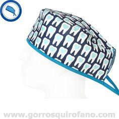 Gorros Dentistas Muelas Corazon Tiras Azules http://www.gorrosquirofano.com/producto/gorros-dentistas-muelas-corazon-tiras-azules/