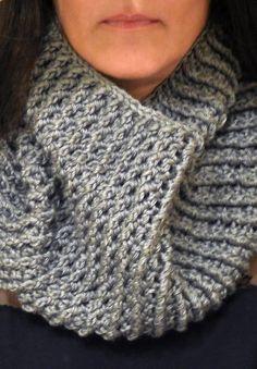 Textured Silver Grey Crochet Cowl, Neck Warmer, Mens Scarf, Womens Scarf, Soft,