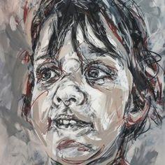 Mika 190×130 fusain sur toile, Hom Nguyen