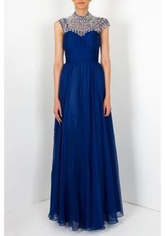 Jovani - Crystal Bead Top Dress Navy - Jovani long sleeveless gown features crystal top.