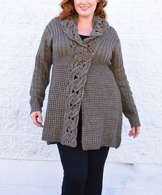 This Taupe Chain-Knit Wool-Blend Cardigan - Plus by Simply Couture is perfect! #zulilyfinds