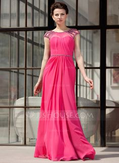Evening Dresses - $152.99 - A-Line/Princess Scoop Neck Floor-Length Chiffon Tulle Evening Dress With Ruffle Beading (017022865) http://jjshouse.com/A-Line-Princess-Scoop-Neck-Floor-Length-Chiffon-Tulle-Evening-Dress-With-Ruffle-Beading-017022865-g22865