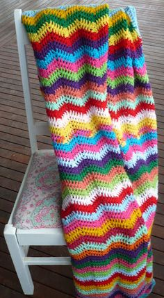 crocheted blanket - love the colors...