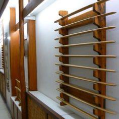 Weapons rack, from an aikido dojo in Greece.