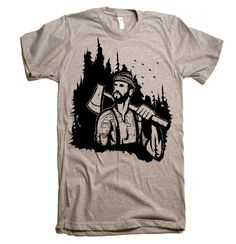 Mens Lumberjack Forest T Shirt  American Apparel by lastearth, $20.00