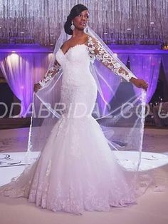 modabridal.co.uk SUPPLIES Designed Long Sleeves Lace-up Garden/Outdoor Trumpet/Mermaid Appliques Glamorous & Dramatic Hourglass Spring Wedding Dress Shop By Style