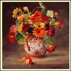 ''Marigolds and Nasturtiums'' by Anne Cotterill