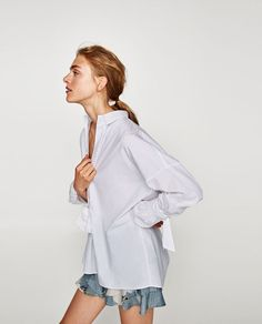 Image 4 of POPLIN SHIRT WITH BOWS from Zara