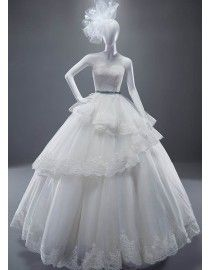 2015 spring sweetheart lace appliques layered ball gown full length wedding dress with blue satin sash 5W-009