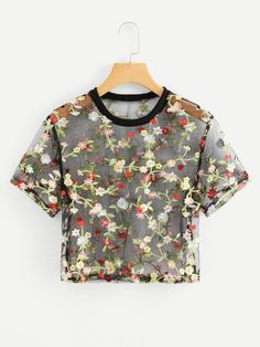 Sexy Embroidery and Sheer Floral Top Regular Fit Round Neck Short Sleeve Multicolor Crop Length Sheer Mesh Floral Embroidered Crop Top Stylish Summer Outfits, Cute Comfy Outfits, Trendy Outfits, Cool Outfits, Girls Fashion Clothes, Girl Fashion, Fashion Outfits, Fashion Styles, Crop Tops Online