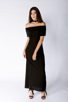 Nytt Black Shoulderless Dress