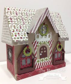 """Melissa's """"Christmas"""" take on the Peony Cottage from SVGCuts Christmas Town, Stampin Up Christmas, Christmas Villages, Christmas Paper, All Things Christmas, Xmas, Christmas Glitter, Cardboard Gingerbread House, Gingerbread Houses"""