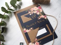 Navy Floral Bloom Wedding Invitation with matching RSVP