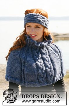"""Knitted DROPS head band and shoulder warmer with cables and rib in """"Andes"""" or """"Eskimo"""". ~ DROPS Design free"""