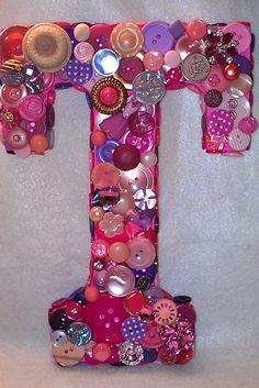 "Custom Pink & Purple Button Initial ""T""."