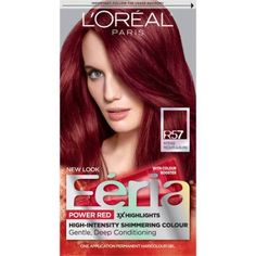 L'Oreal Paris Feria High Intensity Shimmering Color Power Red - Intense M Auburn - 1 Kit Red Hair red hair dye for dark hair Best Red Hair Dye, Bright Red Hair Dye, Dark Red Hair Dye, Blue Black Hair Color, Dyed Red Hair, Red Hair Dye Loreal, Color Red, Color Shades, Brown Hair