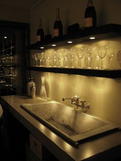 simple basement bar - like the lighting but not all the glasses sitting out. Not kid friendly. Shelves Over Kitchen Sink, Bar Shelves, Open Shelves, Floating Shelves, Nice Kitchen, Wet Bar Basement, Basement Bar Designs, Basement Ideas, Basement Finishing