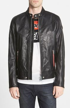 DIESEL® 'Reed' Black Buffalo Leather Moto Jacket available at #Nordstrom