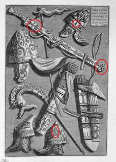 Helmets, dagger, quivers, poker, signs (from the pedestal of the Column of Trajan) - Giovanni Battista Piranesi Ancient Rome, Ancient History, History Of Romania, Trajan's Column, Medieval, Art Database, Ancient Jewelry, Famous Artists, Tapestry